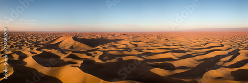 Photo sur Aluminium Desert de sable Aerial panorama in Sahara desert at sunrise