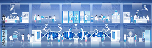 Fotografía Science lab Laboratory assistants DNA research Vector illustration