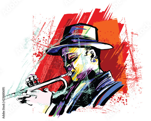 Fotobehang Art Studio Trumpet player over grunge background
