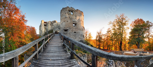 Poster Rudnes Beautiful Slovakia landscape at autumn with Uhrovec castle ruins at sunset