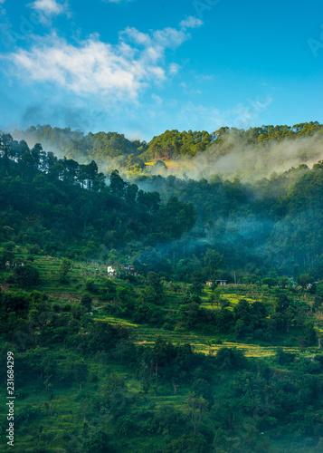 Foto op Aluminium Nachtblauw Village in Fog in Himalayas - Jauljibi, Uttarakhand, India