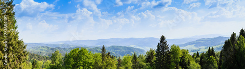 Foto auf Leinwand Gebirge Panorama. A view of the Beskids from Krynica Zdroj.