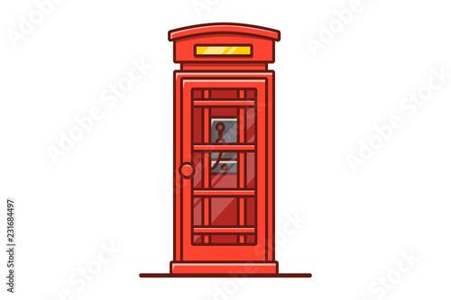 Fotografie, Obraz London phone booth isolated on white vector illustration