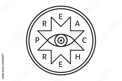 Fotografie, Obraz  The preacher vector badge with all-seeing eye