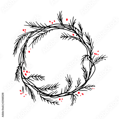 Christmas Wreath Silhouette.Vector Silhouette Christmas Wreath Frame Or Border Buy