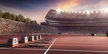 Running Track 3D Illustration....