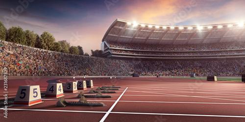 Fototapeta Running track 3D illustration. Professional athletics stadium. Starting line with starting block obraz