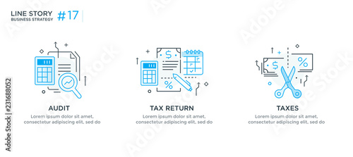 Photo  Set of illustrations concept with business concept
