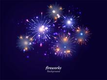 Colorful Fireworks On Night Sky Background. Vector Illustration