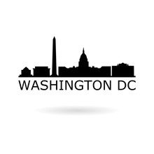 Black Banner Of Washington D.C., Washington Icon Or Logo