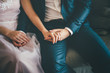 Elegant groom and bride sitting. holding their hands, close up
