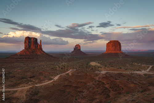 Wall Murals Magenta Monument Valley sunset