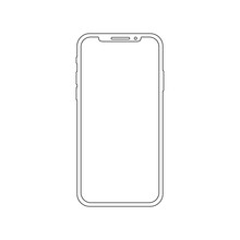 Smartphone Outline Vector Icon Of Mobile Smart Phone Screen Or Modern Android Cellphone.