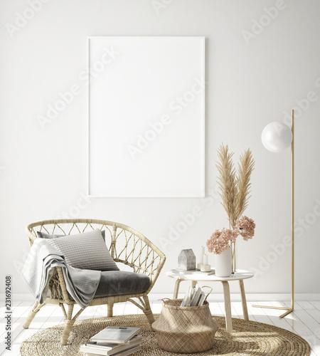 mock up poster frame in modern interior background, Scandinavian style, 3D rende Wallpaper Mural