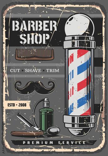 Spoed Foto op Canvas Wanddecoratie met eigen foto Mustaches beard, razor and barber shop pole