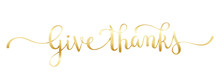 GIVE THANKS Gold Brush Calligraphy Banner