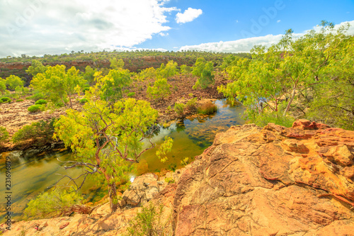 Foto op Aluminium Oceanië Panoramic views of Ross Graham lookout over Murchison River in Kalbarri National Park, Western Australia. The park is famous for the red sandstone rocks, the gorges and formations carved by the river.