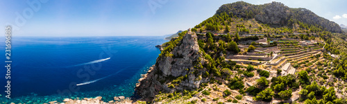 Foto auf Leinwand Insel Aerial view, Spain, Balearic Islands, Mallorca, Andratx region, west coast, Tramuntana mountains, Torre del Verger