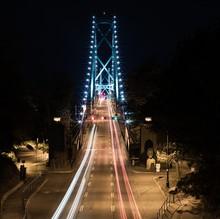 Suspension Bridge With Light Trail