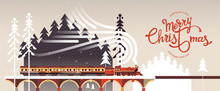 New Year And Christmas Snowy Winter Landscape With Coniferous Forest, Pines, Train And Hand Drawn Merry Christmas Typography . Celebration Quotation For Poster, Card, Postcard, Event Icon Logo Or