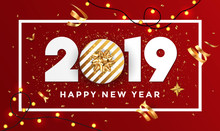 Happy New Year 2019 - Banner With Frame 3