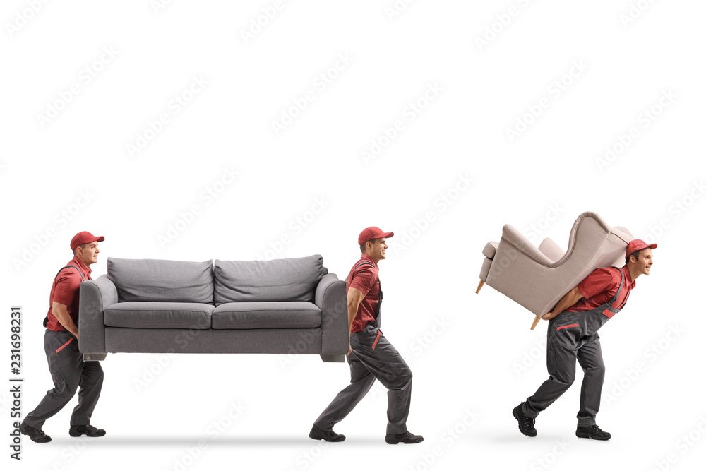 Fototapety, obrazy: Movers carrying a couch and an armchair