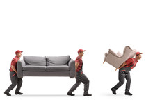 Movers Carrying A Couch And An...