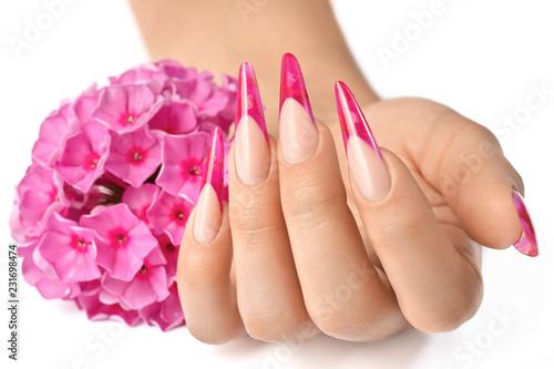 Stampa su Tela Fingernails with flowers