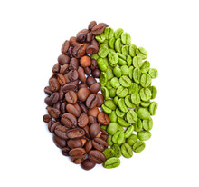 Green And Roasted Coffee Beans Isolated On White Background