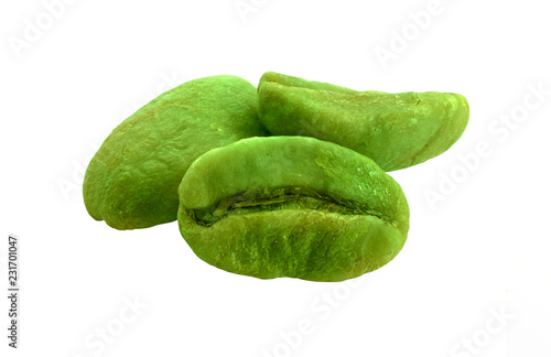 Green coffee beans isolated on white background