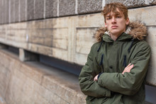 Young Man Male Teenager Boy Wearing Green Parka