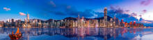 Panorama View Of Hong Kong Victoria Harbor In Sunset