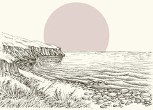 Sea, Beach And Cliff Sketch