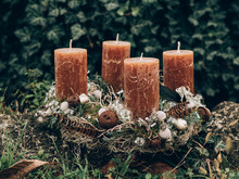 Advent Wreath For The Pre Christmas Time. DIY Christmas Decoration. Home Decor. DIY Advent Decoration.