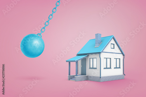Fotografie, Obraz 3d rendering of large blue iron wrecking ball ready to hit a small blue family house on a pink background