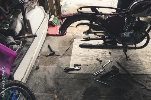 Motorbike in repair garage