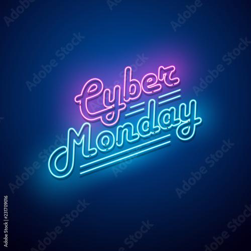 Obraz Cyber Monday background. Neon sign. Vector illustration.  - fototapety do salonu