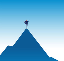 Business Mission Concept. Visionary On Mountain Peak With Telescope. Success Business Vision Vector Poster. Illustration Of Businessman With Binocular On Top Mountain Peak