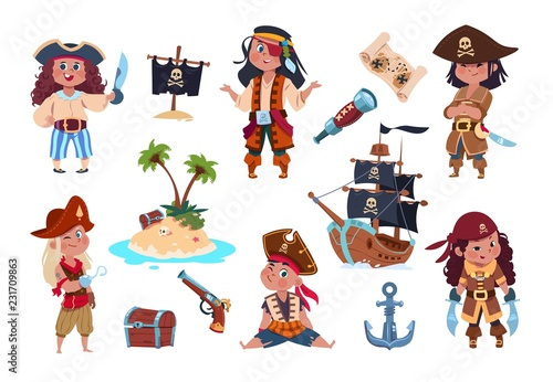 Fotomural Pirate characters