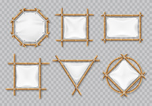 Bamboo Frames With White Canvas. Chinese Bamboo Signs With Blank Textile Banners. Isolated Vector Set. Illustration Of Bamboo Frame, Banner Empty Placard For Message