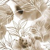 Abstrakcyjny wzór kwiatowy akwarela z liści herbaty w ręcznie rysowane szkic stylu i plamy akwarela. Grunge tło na bielu - 231710652
