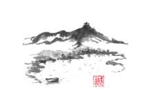 Japanese Style Sumi-e Lake And...