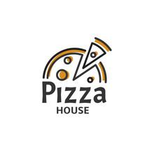 Icon Of Pizza Slice. Modern Pizzeria Logo Template. Italian Food Restaurant Emblem. Fast Food Cafe Logotype Design Vector Illustration. Vectors.