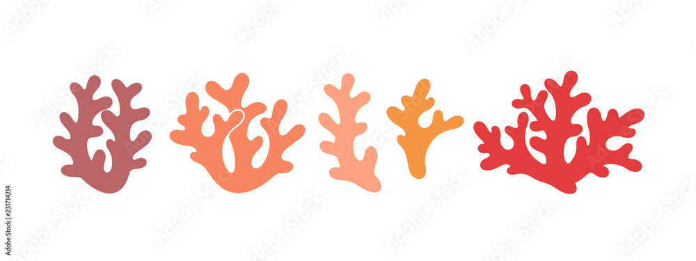 Fototapeta Coral logo. Isolated coral on white background. Set