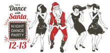 Vector Dancing Santa Claus And Young People