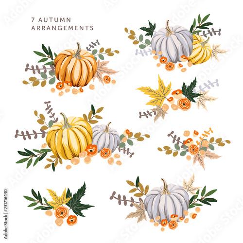 Stampa su Tela Autumn arrangements with orange, gray pumpkins, maple leaves