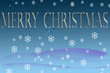 Merry Christmas background with snowflakes and blue bow, useful for flyers, cards, menus, invitations, and more.
