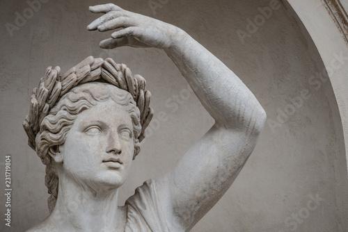 Aluminium Prints Historic monument Statue of sensual Roman renaissance era woman in circlet of bay leaves, Potsdam, Germany, details, closeup