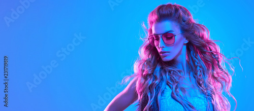 High Fashion neon light. Sexy Girl, Hairstyle