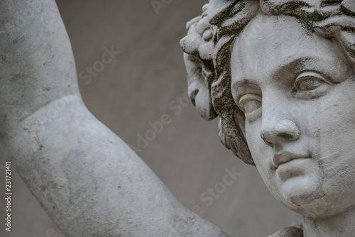 Deurstickers Historisch mon. Statue of sensual busty and puffy renaissance era woman in circlet of flowers, Potsdam, Germany, details, closeup